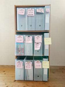 オックスフォードリーディングツリー ORT ファイルボックス収納の仮ラベリング