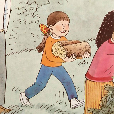 丸太を運ぶビフ