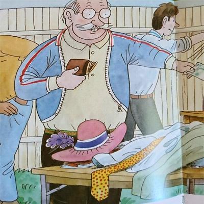 ジャケットを試着するおじさん